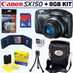 Canon PowerShot SX150 IS 14.1 MP Digital Camera (Black) + 8GB Accessory Kit by Canon. $129.95. Discover how simple and easy it is to be creative and shoot memorable photos and videos of your favorite subjects with the Canon PowerShot SX150 IS digital camera. Its compact size makes it convenient to carry around everywhere to capture those special moments that can happen anytime! Sporting a stylish design, 14.1 Megapixels deliver stunning image detail and enable you ...