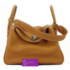 #HERMES Lindy34 Gold Colour Clemence With Palladium Hardware Brandnew Condition ref.code-(KKLY-1)