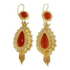 Pre-owned 14K Yellow & Rose Gold Orange Coral Dangle Earrings (9.410 BRL) ❤ liked on Polyvore featuring jewelry, earrings, 14 karat gold earrings, dangle earrings, round earrings, orange jewelry and orange coral earrings