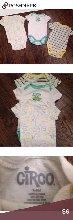 🎃SALE🎃Bundle of 3 Infant Unisex Circo Bodysuits 🎃🍁SALE🍁🎃Excellent condition!  One bodysuit: Worth the Wait, was worn once or twice.  The other two bodysuits were washed, but never worn.  No rips/tears or stains! I ended up having another girl and got tons of girl clothing.  Items come from smoke free/pet free home!  Must Sell!!!  Price is firm during the weekend SALE! Circo One Pieces Bodysuits