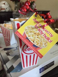 Trouble Keeping in Contact with Clients/Customers? We absolutely adore this Popcorn Marketing Strategy. #justpoppingby