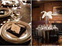 Vaneli Almond table linen from La Tavola: Emerald Wedding Ideas / Art Deco Inspired Wedding / Lauren Gabrielle Photography / via StyleUnveiled.com