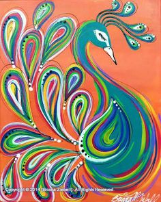 funky and funny peacock painting. Background colors can change. Kunst Party, Peacock Painting, Peacock Artwork, Peacock Canvas, Peacock Images, Wine And Canvas, Paint And Sip, Art Party, Bird Art
