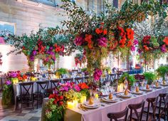 Colorful wedding floral centerpieces