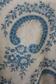 Antique French Blue Portrait Cartouche Printed Cotton 1850 Hauntingly Beautiful | eBay