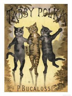 Giclee Print: Tabby Polka a Trio of Cats with Arms Linked Dance a Polka by Moonlight : 24x18in
