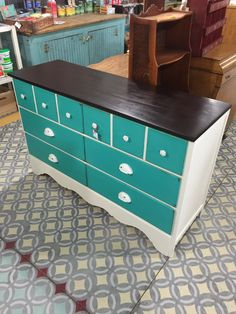 Dresser painted in general finishes milk paint, patina green & antique white by Flippin' Junk.