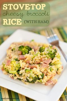 Too hot for the oven? This Stovetop Cheesy Broccoli Rice with Ham is a perfect summer dinner!