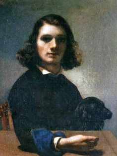 Gustave Courbet (French artist, 1819-1877) Self Portrait with Black Dog