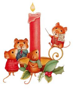 CHRISTMAS MICE AND CANDLE CLIP ART