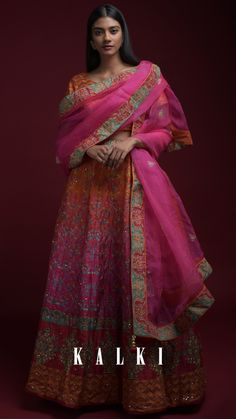 Orange And Magenta Shaded Lehenga With Printed Chevron And Floral Motifs And Jaal Pattern Online - Kalki Fashion Visual Dictionary, Lehenga Gown, Floral Motif, Magenta, Hemline, Compliments, Chevron, Ethnic, Clever