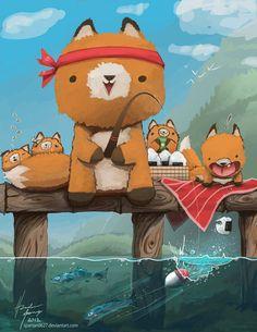 """+ Ilustração :     """"Cast Away Your Problems Go Fishing"""", pelo ilustrador americano Hunter Mooney (Spartan0627)."""