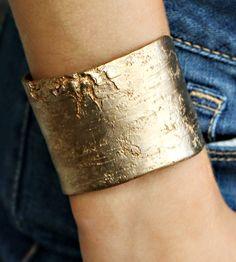 Golden Brass Birch Bark Bracelet by Nancy Nelson Jewelry on Scoutmob Shoppe