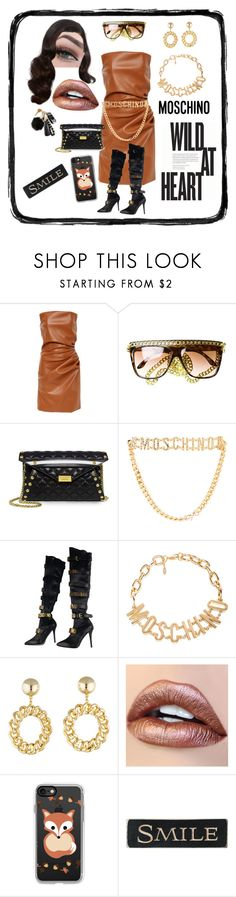 """""""Wild At Heart"""" by gigiglow ❤ liked on Polyvore featuring Boutique Moschino, Moschino, Casetify and DutchCrafters"""