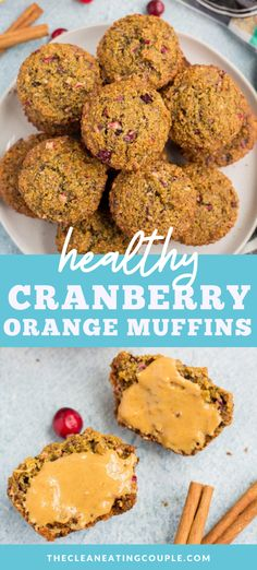 Healthy Cranberry Orange Muffins are a naturally gluten free, easy weekday breakfast! Packed with fresh cranberries and sweetened with honey, these bakery style muffins are moist, full of flavor and simple to make! Healthy Gluten Free Recipes, Healthy Muffin Recipes, Healthy Muffins, Snack Recipes, Easy Clean Eating Recipes, Healthy Foods, Vegetarian Recipes, Cranberry Orange Muffins, Baked Oatmeal Recipes
