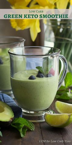 The green smoothie is super popular, but it's usually loaded with sugar. Here's a healthier low carb keto smoothie made with avocado and mint.   LowCarbYum.com via @lowcarbyum
