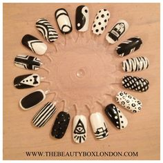 My nail art wheel using Jessica Custom Colours in Chalk White and Sunset Boulevard. Created at The Beauty Box
