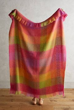 Avoca Plaid Mohair Throw Blanket