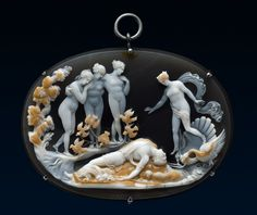 Death of Adonis cameo, made of onyx, agate, and silver. Venus accompanied the turtledove and the swan to discover him lying on the ground. His dog is crouching beside three Graces standing under the tree. | Based on the relief of Antonio Canova work of 1797 | Signed by ME Pisutorutchi, for Maria Elisa Pisutorutchi (1824-81), daughter of Beneditto Pisutorutchi.