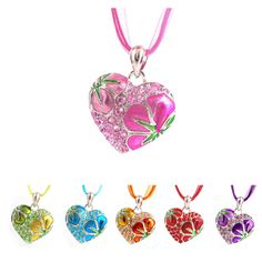 Fashion Love Flower Crystal Rhinestone Silver Heart Chain Pendant Necklace Gift #Unbranded #Chain