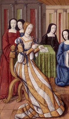 Phyllis, fille d'un roi thrace, écrivant. Miniature extraite des Héroïdes d'Ovide (traduction d'Octavien de Saint-Gelais, 1496-1498).