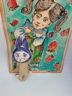 Erdbeere Mädchen...und Hase.... von Galerie MIZUMI auf DaWanda.com