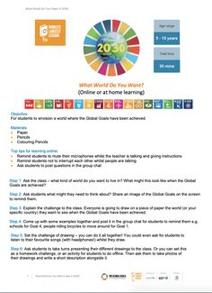 10 Impactful Distance Learning Lessons to use...now! For students to envision a world where the Global Goals have been achieved This is a good activity to do with a live digital meetup through Google Meet or Zoom. You can simultaneously have students post their answers and participate in a collaborative posting resource such as Padlet.  Resources for Online and At Home Learning | The Worlds Largest Lesson #SDGs #Agenda2030 #GlobalGoals #sustainabilityeducation Drawing Activities, Home Activities, Un Global Goals, Sustainability Education, Learning Objectives, Home Learning, Project Based Learning, Lesson Plans, Worlds Largest