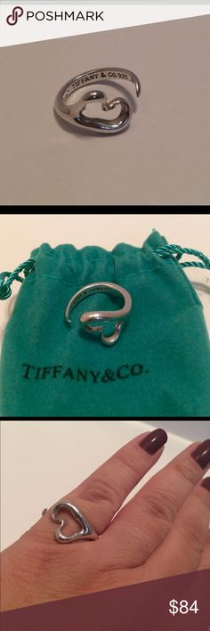 Tiffany Elsa Peretti heart ring Super stylish .925 sterling silver ring in a size 6. Pouch is included Tiffany & Co. Jewelry Rings