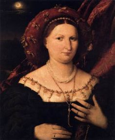 LOTTO, Lorenzo (b. ca. 1480, Venezia, d. 1556, Loreto)   Click! Portrait of Lucina Brembati  c. 1518 Oil on panel, 53 x 45 cm Accademia Carrara, Bergamo  In this nocturnal portrait the pale moonlight laps the edges of the clouds and just barely mists the shores. Plump and self-confident, the Bergamasque noblewoman stands out with vibrating luminosity against the dark background.