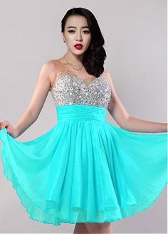 Blue A-line Homecoming Dress