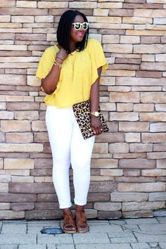 Yellow top, white jeans, leopard, summer style