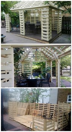 Made From Recycled Pallets Complete pallet pavillon built with europallets.Really beautiful work ! not for beginners !Complete pallet pavillon built with europallets.Really beautiful work ! not for beginners ! Wooden Pallet Projects, Pallet Crafts, Outdoor Projects, Garden Projects, Pallet Ideas, Diy Projects, Project Ideas, Garden Ideas, Pallet Gazebo Ideas