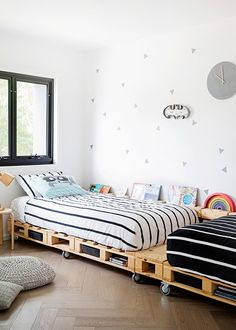 This stylish contemporary home has family at its heart Monochrome Interior, Shades Of Grey, Toddler Bed, Contemporary, Black And White, Stylish, Attic, Heart, Bedrooms
