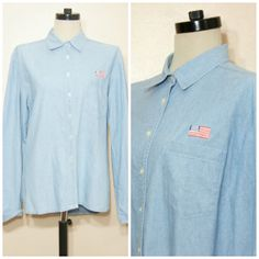 90s Chambray American Flag Shirt Oversize Boyfriend Shirt Patriotic Medium Large