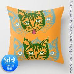 Mollycat Orange Wall Tapestry by artgaragefinland Orange Throw Pillows, Orange Walls, Cats Of Instagram, Instagram Posts, Small Cat, Cat People, Cat Design, Pillow Design, Cat Day
