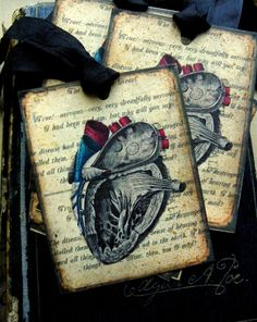 Anatomy Of A Heart Vintage Style Paper Tag Valentine by Brandy Faulkner.