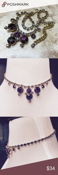 Vintage necklace Vintage gold tone choker necklace featuring amethyst colored faceted crystals.  The larger stones are deep purple and the small ones are a lighter shade of purple. Excellent vintage condition. (CHAL) Vintage Jewelry Necklaces