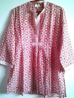 2ea9862762 Anokhi Red   Pink Etoile Jali Hand block print Boho chic Pintuck Indian  cotton Blouse Top by Khadiwallah