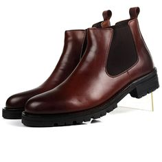 on sale 84b37 07964 2016 New Fashion Black Brown Mens Ankle Boots Business Shoes Genuine  Leather Snow Boots Office Mans