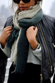 leather jacket + layered scarves.