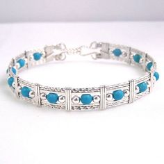 This sterling silver bracelet is made with beautiful sky blue chalk turquoise. I keep these beautiful stones in stock. Turquoise is always in style. You will reach for it again and again. Wire Jewelry Designs, Metal Jewelry, Beaded Jewelry, Silver Jewellery, Jewelry Ideas, Jewellery Uk, Indian Jewelry, Jewelry Shop, Diamond Jewelry