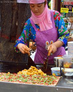 Xian Muslim Street Food, making the iron plate fried tofu.