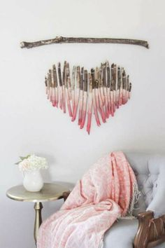 DIY - How to make a heart designed wall membrane art out from driftwood or tree branches and twigs. Includes tips about branch collection and reveals how to link branches mutually. Decoration Branches, Branch Decor, Decorations, Painted Driftwood, Driftwood Art, Green Mugs, Custom Printed Mugs, Ideas Hogar, Funky Furniture