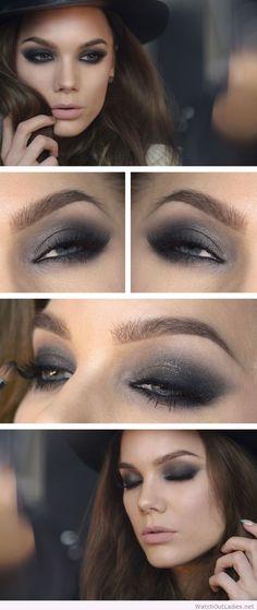 Linda Hallberg awesome black eye makeup with glitter