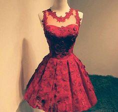 Vestido Vermelho curto com renda