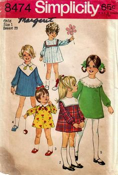 1960s Simplicity 8474 Vintage Sewing Pattern Toddler Flared