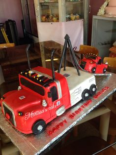 Towing truck birthday cake. Visit us Facebook.com/marissa'scake.
