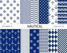 Nautical paper pack, nautical digital papers in navy blue with wave, anchor, stripes and polka dots patterns, scrapbook paper, scrapbook supplies