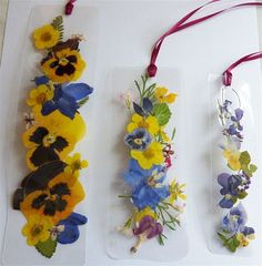 Laminated pansies and delphinium bookmarks number by pauladyer1, $10.00