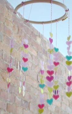 embroidery hoop and heart mobile